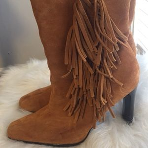 "Predictions Suede 3/4 Boots with 4"" Heels & Fringe"